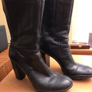 Cole Hann mid level black leather boots